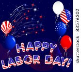 happy labor day with fireworks... | Shutterstock . vector #83576302