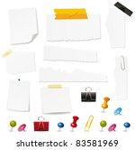 blank papers and pin collection.... | Shutterstock .eps vector #83581969