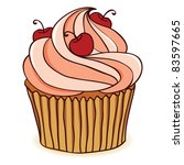 hand drawn cupcake with... | Shutterstock .eps vector #83597665