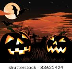 A graveyard, bats and pumpkin Halloween background - stock vector