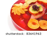 sweet cold red jelly cake with... | Shutterstock . vector #83641963