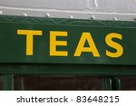 Tea Sign outside of Cafe - stock photo
