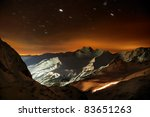 Night Shot in the Mountains - stock photo