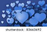 many blue hearts background 3d - stock photo