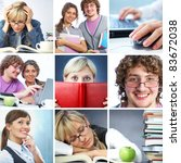 collage of students working in... | Shutterstock . vector #83672038