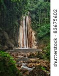 Diamond falls and botanical gardens near Soufriere St. Lucia. - stock photo