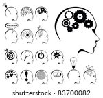 Stock vector brain activity and states icon set 83700082