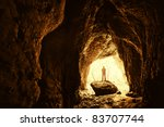 Cave With Man Standing On A...