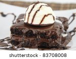 brownie with ice cream on the... | Shutterstock . vector #83708008