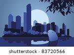 Skyscraper city landscape illustration - stock vector