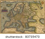 Antique Map Of Europe   By...
