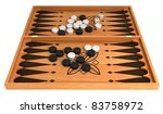 Opportunity: backgammon with chips and dice isolated over white - stock photo