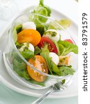 Fresh salad with vegetables and mozzarella. Selective  focus - stock photo
