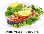 grilled salmon with broccoli... | Shutterstock . vector #83807476