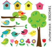 set birds with birdhouses ... | Shutterstock . vector #83820481