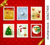 Set of Christmas stamps and postmarks. Vector - stock vector
