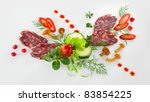 vegetables and sausages  on... | Shutterstock . vector #83854225