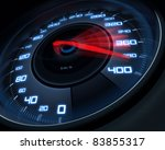 Speedometer scoring high speed in a fast motion blur. - stock photo