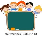 kids and blackboard | Shutterstock .eps vector #83861413