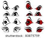 Set Of Evil Eyes On White...