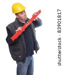 Funny picture of a worker with spirit-level on a white background. - stock photo