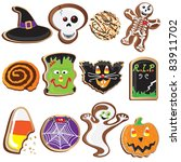 cute halloween cookies clipart... | Shutterstock .eps vector #83911702