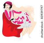 sketch of a young woman in... | Shutterstock .eps vector #83939797