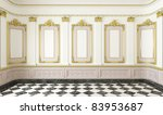 3d scene of a classic style room with golden moldings and marble floor - stock photo