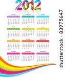vertical calendar for 2012 year