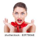 beauty girl looking very amazed ... | Shutterstock . vector #83978068