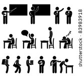 School Teacher Student class classroom Education Symbol Sign Icon Pictogram - stock photo
