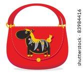 Cheerful applique bag with  zebra - stock photo