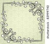 vintage frame on damask... | Shutterstock .eps vector #83999740
