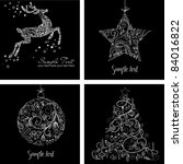 black and white christmas cards | Shutterstock .eps vector #84016822