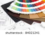 color samples of architectural materials and architectural drawings of the modern house - stock photo