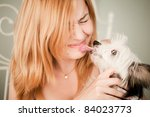 woman with the Chinese crested dog - stock photo