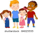 four kids | Shutterstock .eps vector #84025555