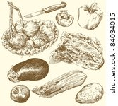 greengrocery hand drawn set | Shutterstock .eps vector #84034015
