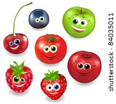 collection cartoon fruit and... | Shutterstock . vector #84035011