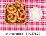 german bavarian breakfast with brezel - stock photo