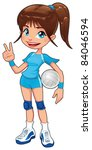 Young volleyball player. Funny cartoon and vector isolated character. - stock vector
