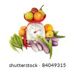kitchen weight scale with... | Shutterstock . vector #84049315