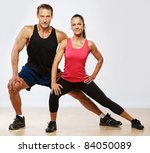 athletic man and woman doing... | Shutterstock . vector #84050089