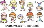 cartoon drawings of children | Shutterstock .eps vector #84090886
