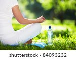 woman in lotus position close up | Shutterstock . vector #84093232