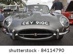 GRANTOWN ON SPEY, SCOTLAND - 4 SEPTEMBER: Jaguar E Type on display in the annual Motor Mania car show on September 4 2011 in Grantown On Spey, Scotland - stock photo