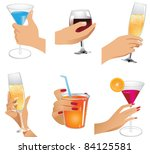 hands holding drinks icons a... | Shutterstock .eps vector #84125581