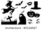 halloween silhouette icons a... | Shutterstock .eps vector #84126067