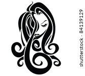 long hair girl | Shutterstock .eps vector #84139129
