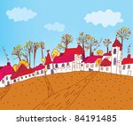 autumn town sketch cartoon | Shutterstock .eps vector #84191485